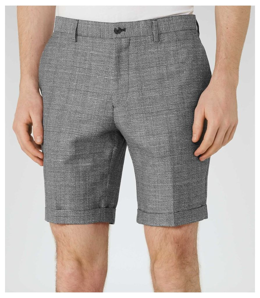 REISS Buckingham S - Mens Check Shorts in Grey