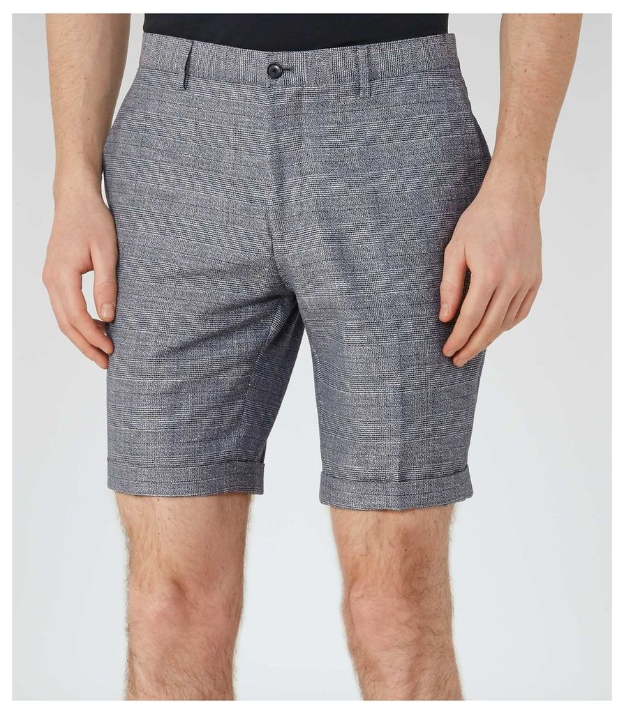REISS Buckingham S - Mens Check Shorts in Blue