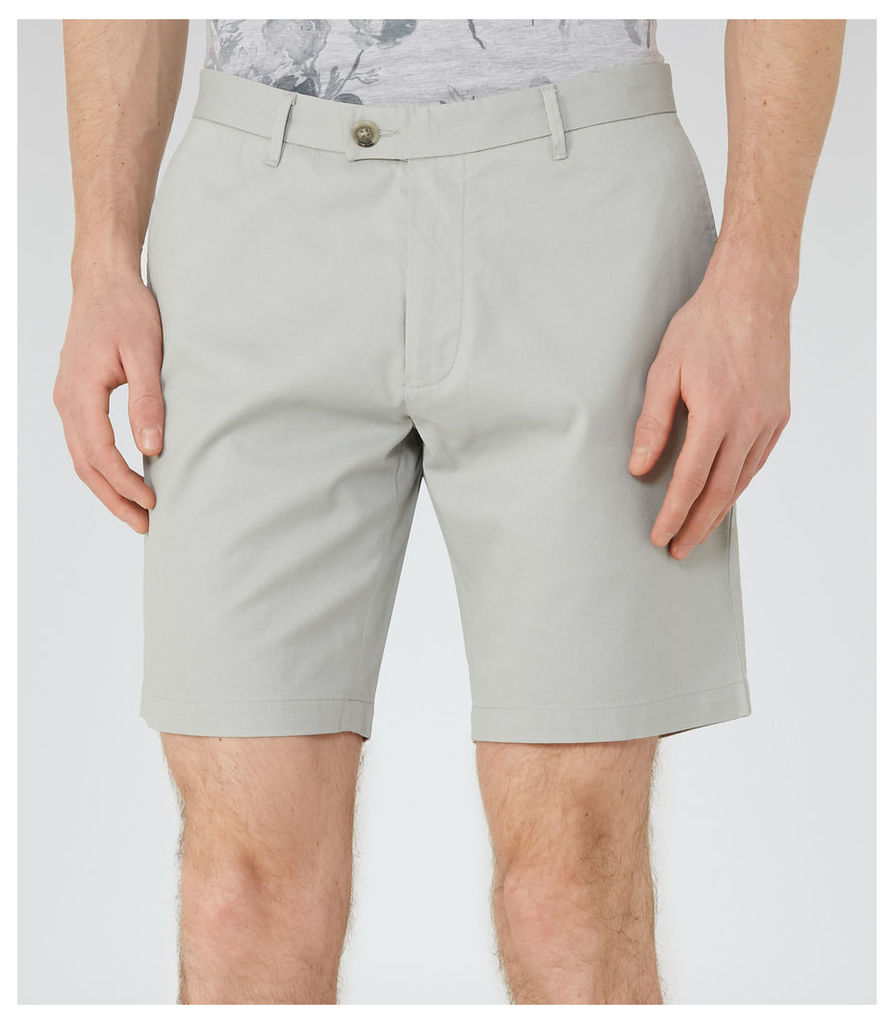 REISS Wicker  - Tailored Cotton Shorts in Green, Mens