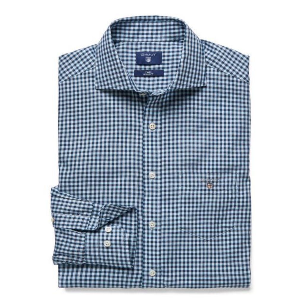Gingham Check Spread Collar Shirt - Persian Blue