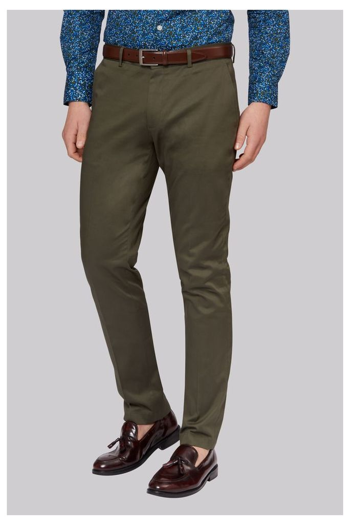 Moss London Khaki Sateen Finish Chinos