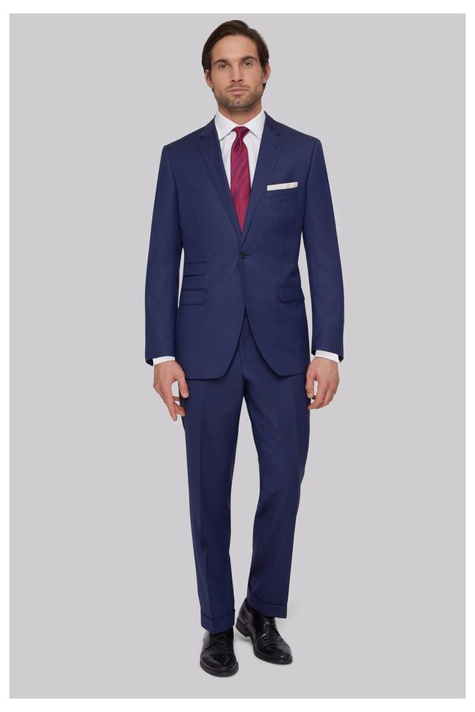 Moss Bros Tailored Fit Blue Birdseye Suit