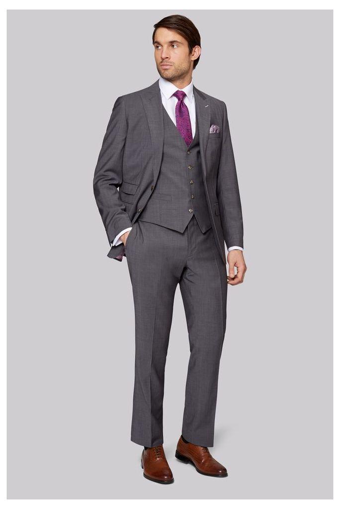 Moss Bros Tailored Fit Grey Twill Suit