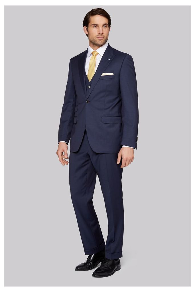 Moss Bros Regular Fit Blue Twill Suit