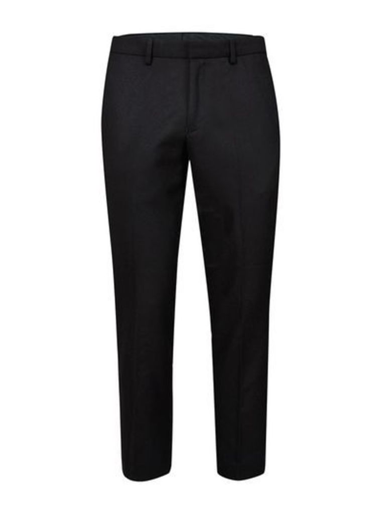 Mens Grey Black Zip Ankle Cropped Smart Trousers, Grey