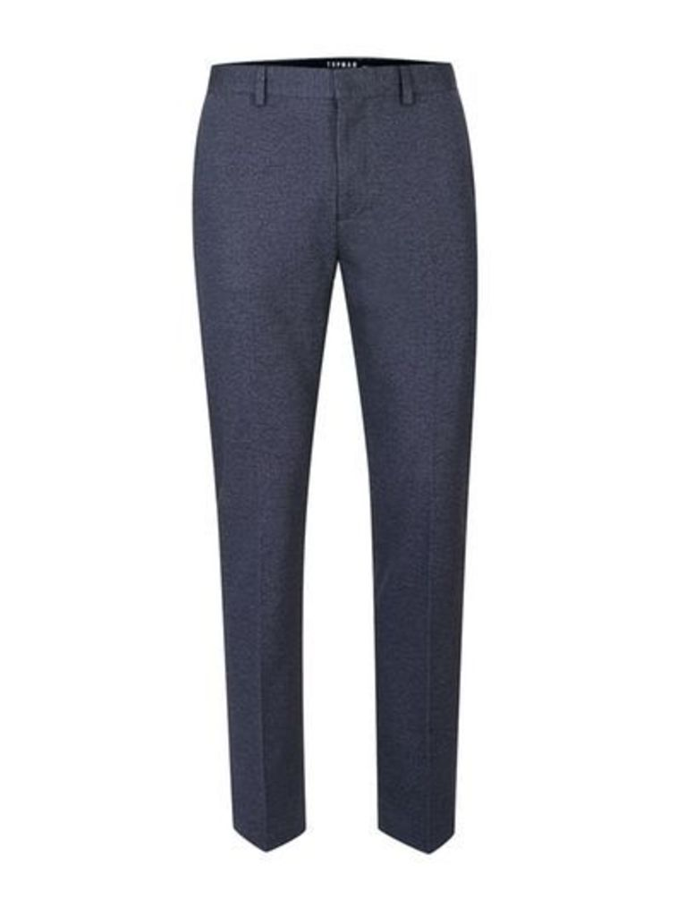Mens Blue Navy Cropped Skinny Smart Trousers, Blue