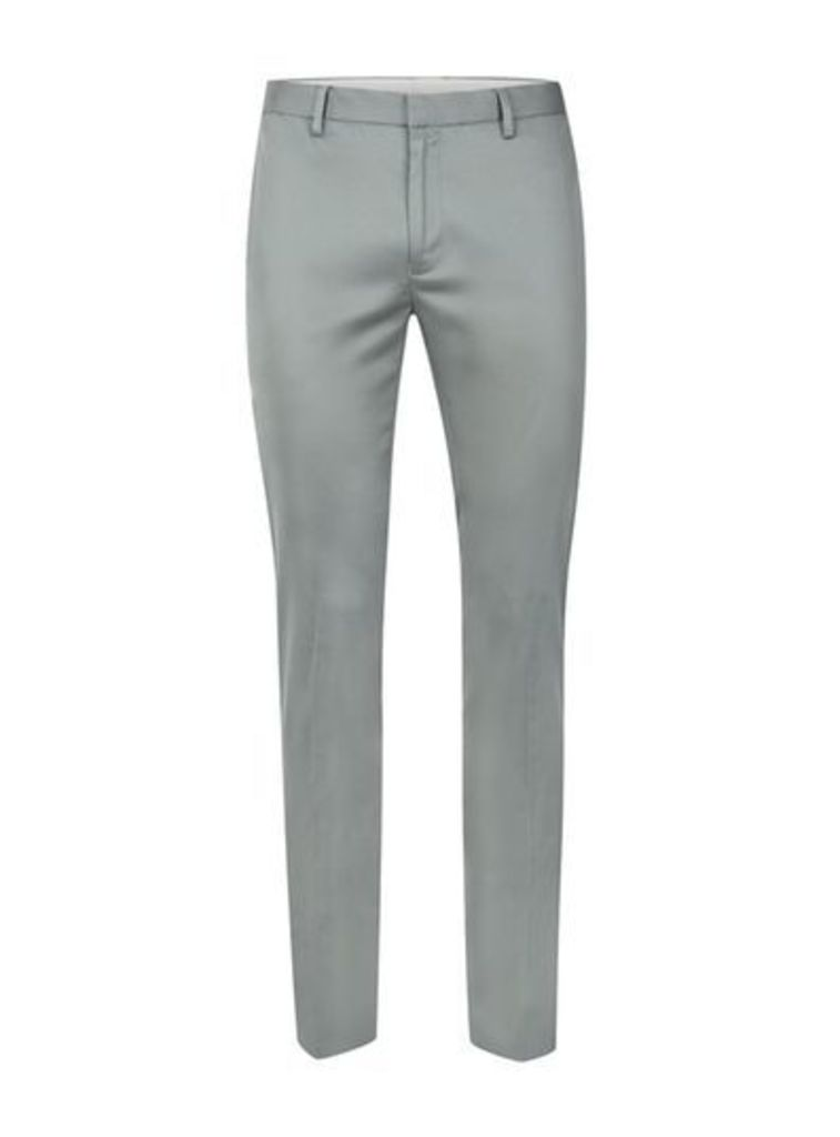 Mens Mid Grey Grey Ultra Skinny Fit Smart Trousers, Mid Grey