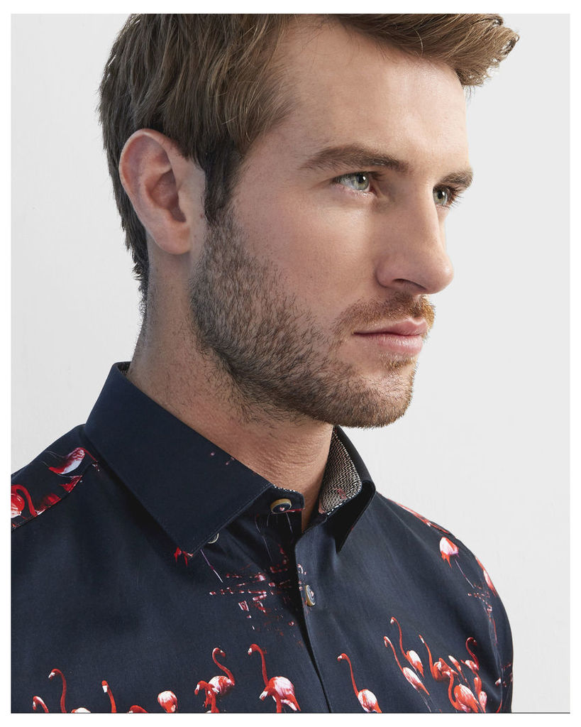 Ted Baker Flamingo print cotton shirt Navy