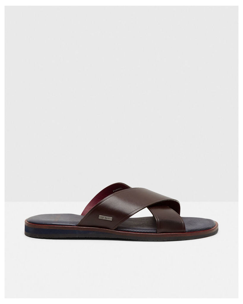 Ted Baker Cross strap leather sandals Brown