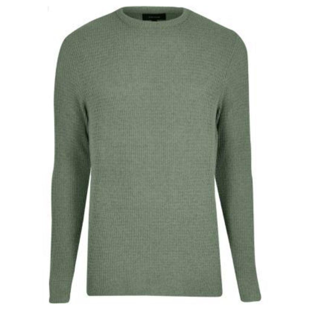 River Island Mens Light Green textured knit jumper