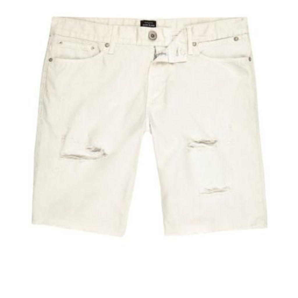 River Island Mens Beige ripped skinny fit denim shorts