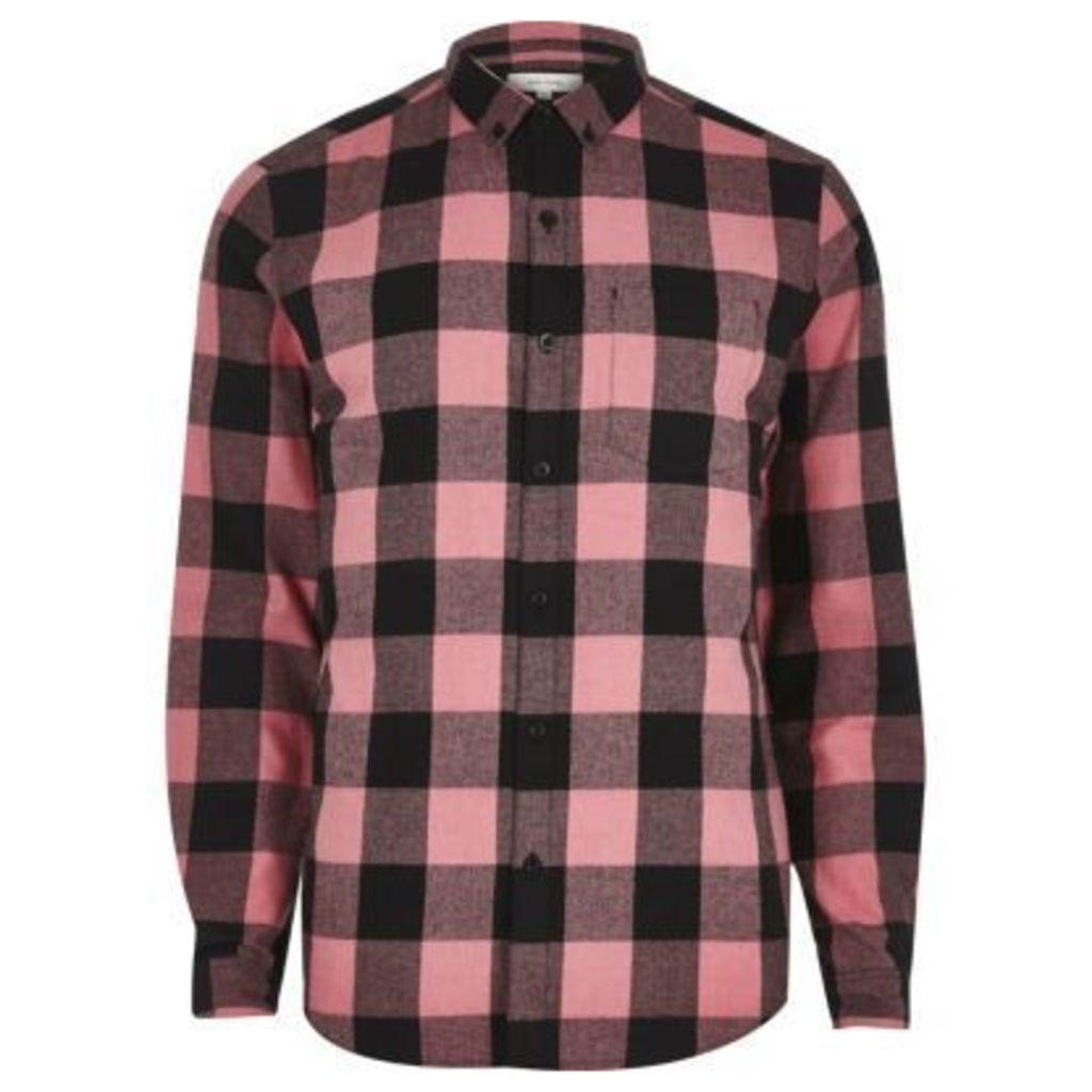 River Island Mens Pink buffalo check casual shirt