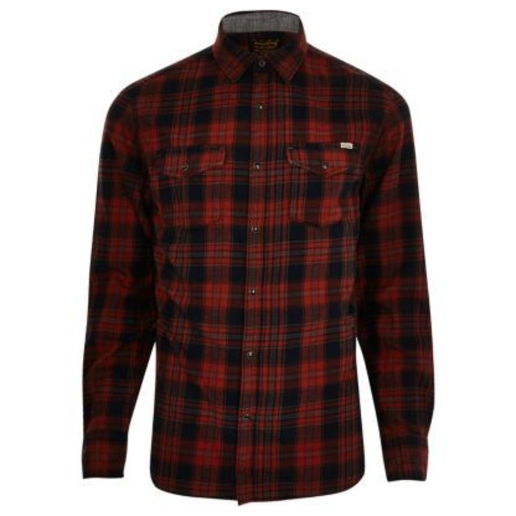 River Island Mens Red Jack & Jones Vintage casual check shirt
