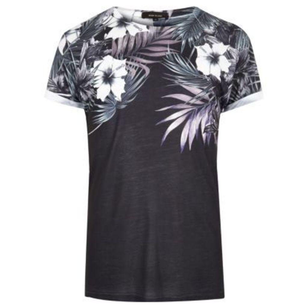 River Island Mens Black floral shoulder print T-shirt