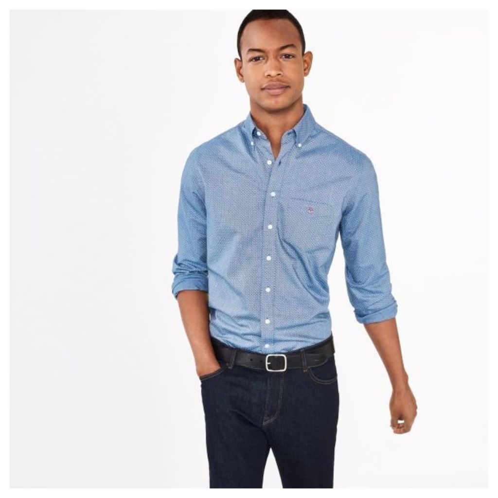 Oxford Polka Dot Fitted Shirt - Navy