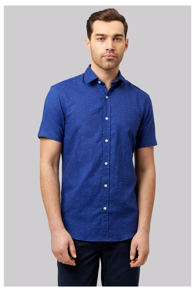 Moss 1851 Slim Fit Blue Linen Short Sleeve Printed Casual Shirt
