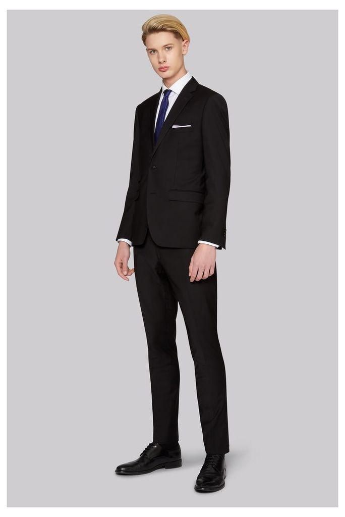 Moss Bros Skinny Fit Performance Black Suit