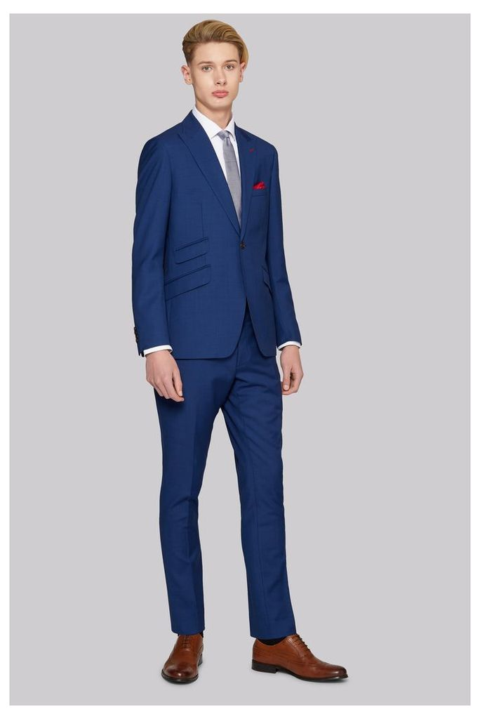 Moss Bros Skinny Fit Bright Blue Suit