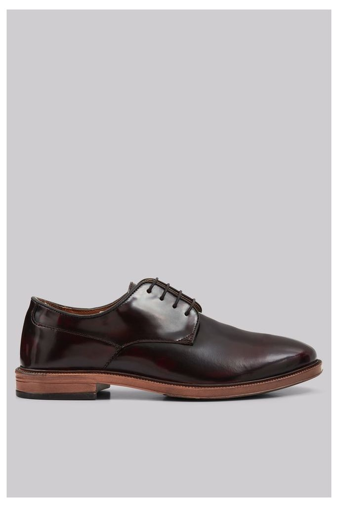 Moss London Kinton Oxblood High Shine Derby Shoes