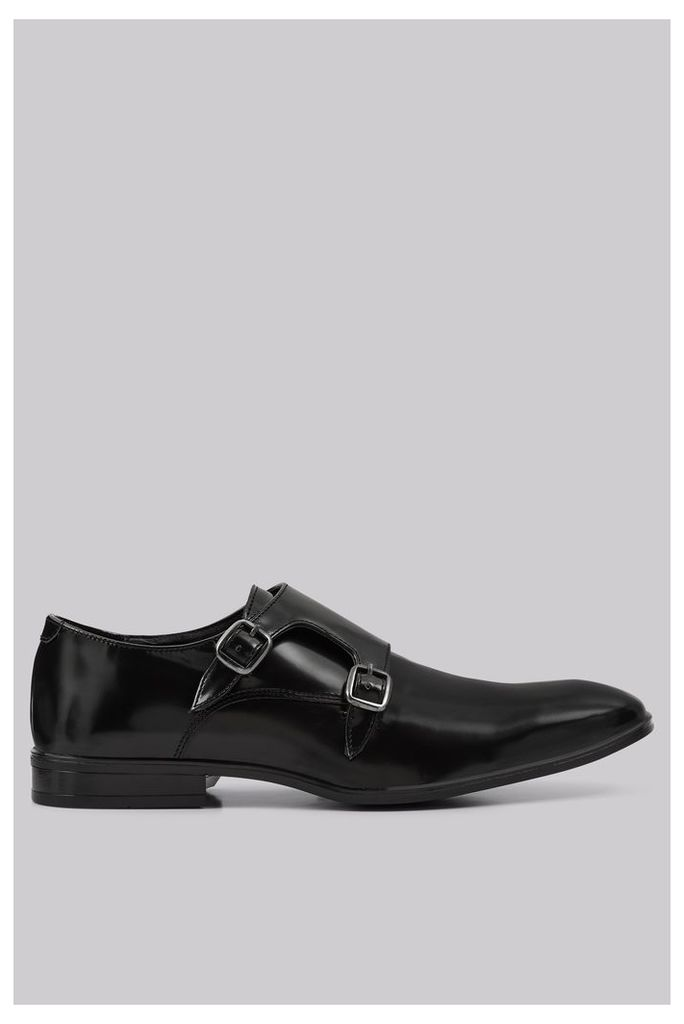 Moss London Fints Black Double Monk Shoes