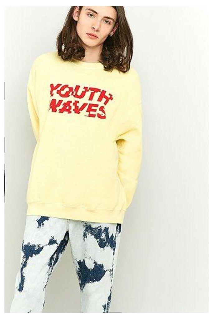 Youth Waves Yellow Crewneck Sweatshirt, Yellow