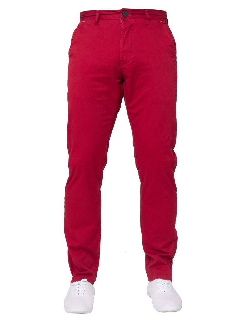 Mens Tapered Fit Red Chinos