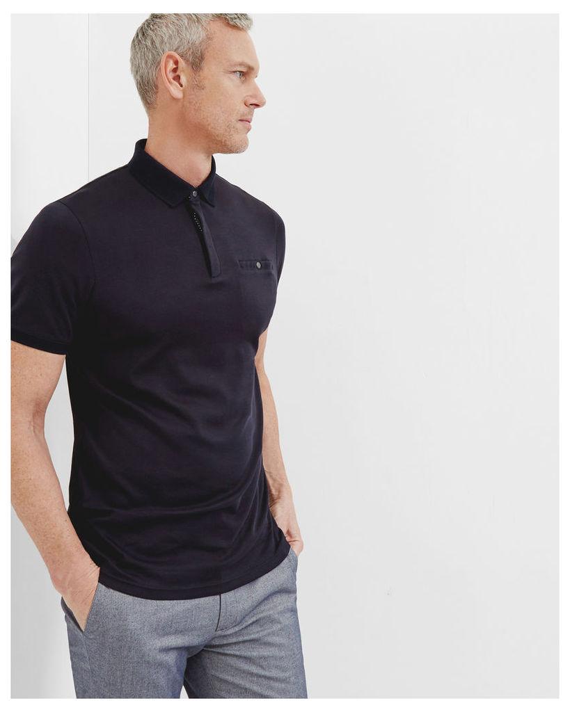Ted Baker Flat knit collar cotton polo shirt Navy