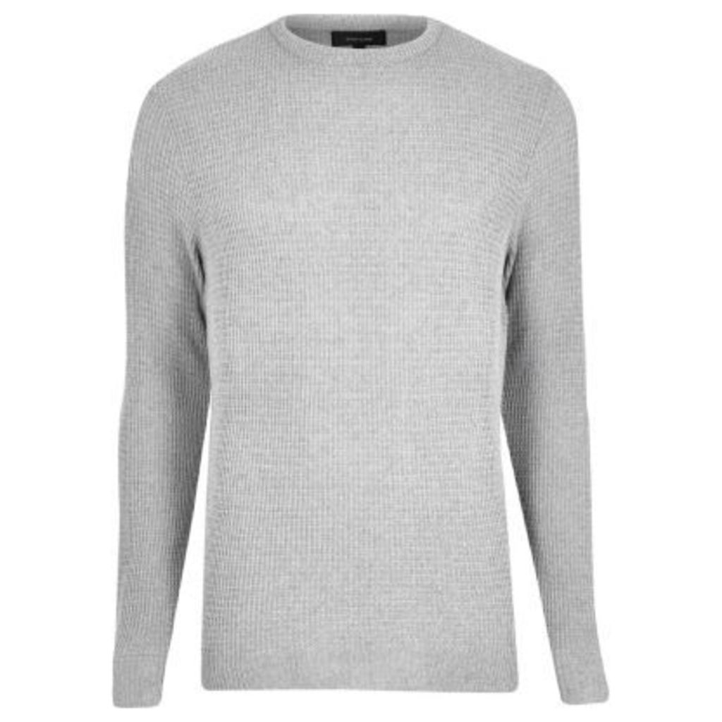 River Island Mens Grey textured knit jumper