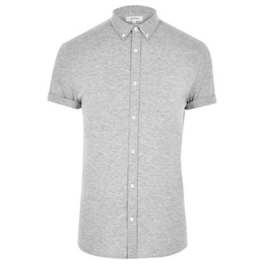 River Island Mens Grey short sleeved casual muscle fit shirt