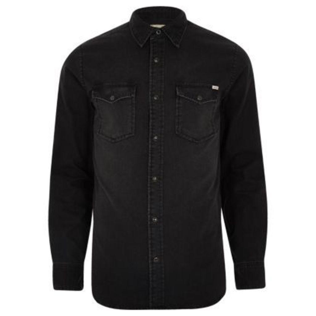River Island Mens Black Jack & Jones Vintage denim shirt