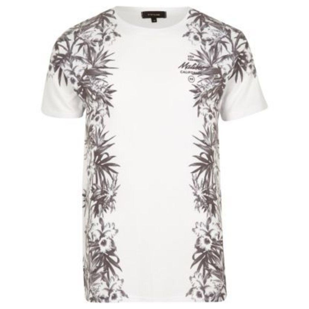 River Island Mens White floral Malibu print T-shirt