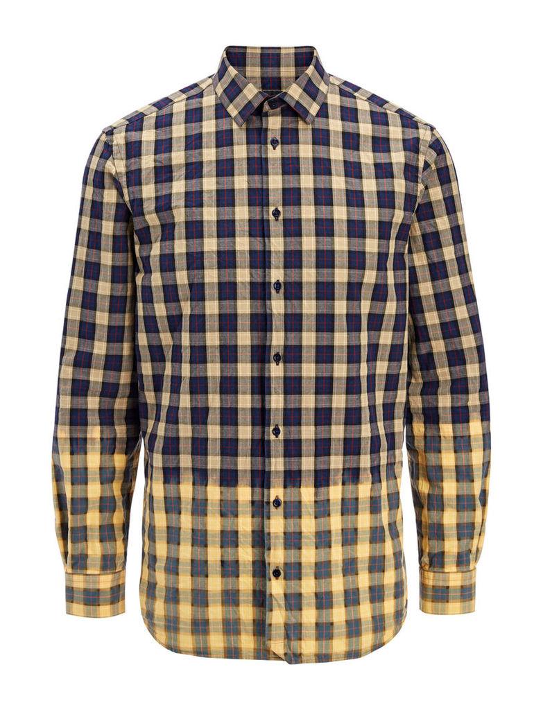 Bleached Check John Shirt in Navy