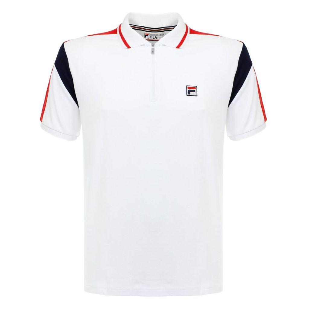 Fila Fabbiano White Zip Polo Top SS17VGM018