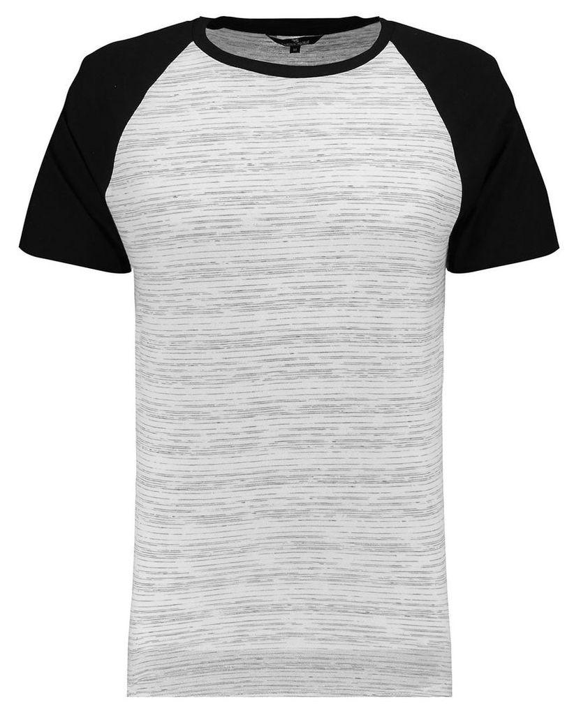 Men's Blue Inc Black Curved Hem Raglan Baseball T-shirt, Black