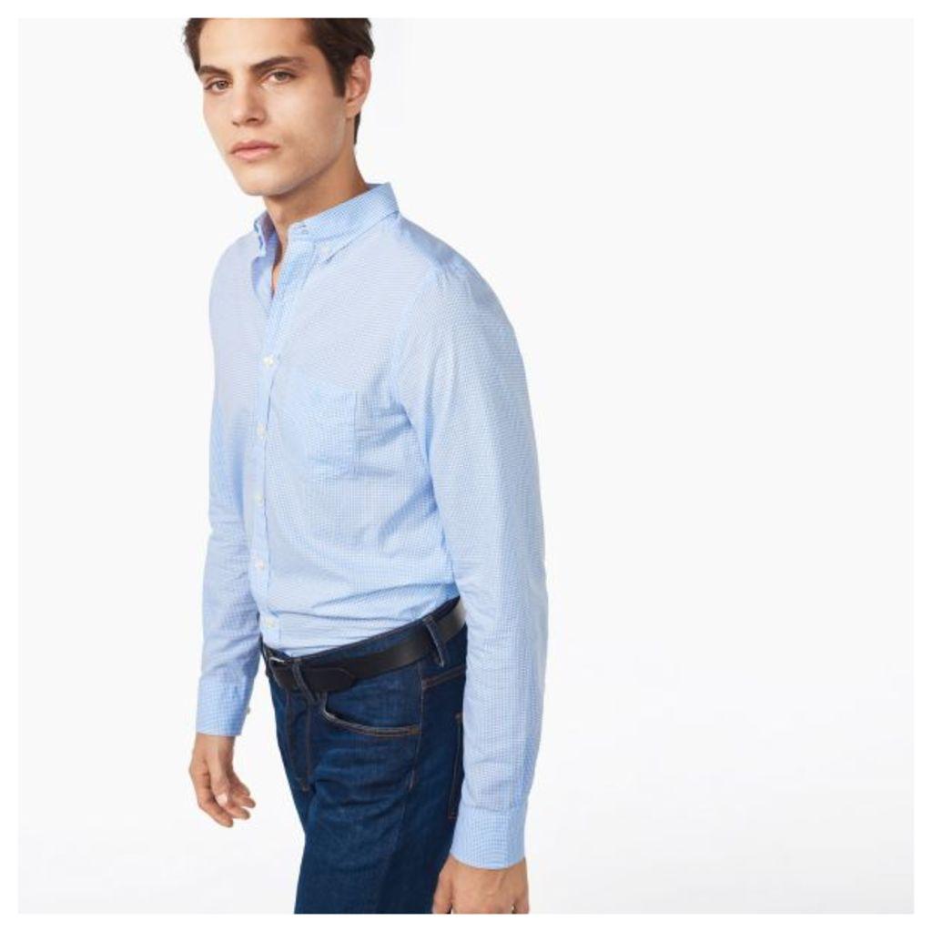 Cotton Linen Check Shirt - Kentucky Blue