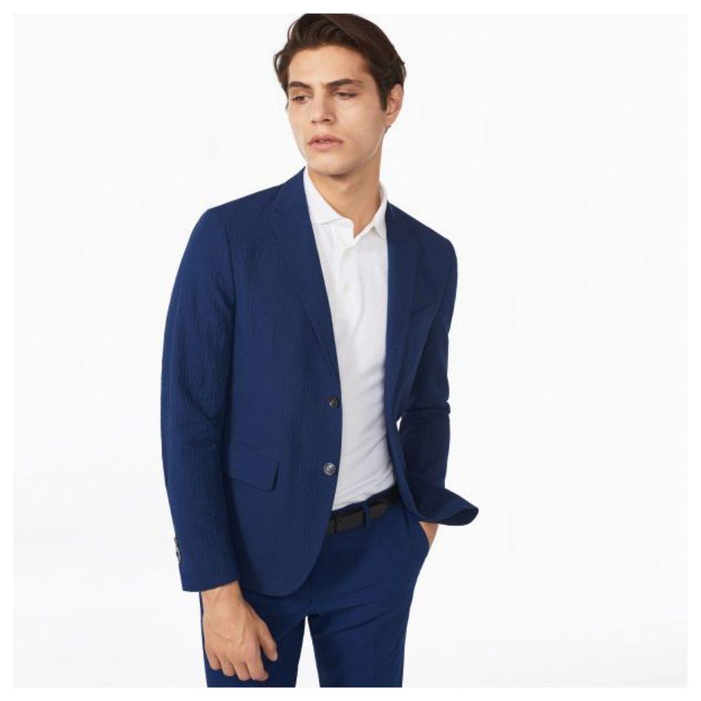 Luxe Linen Seersucker Blazer - Persian Blue