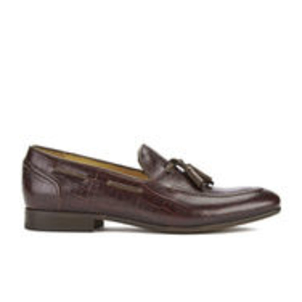 H Shoes by Hudson Men's Pierre Croc Leather Tassle Loafers - Brown - UK 11