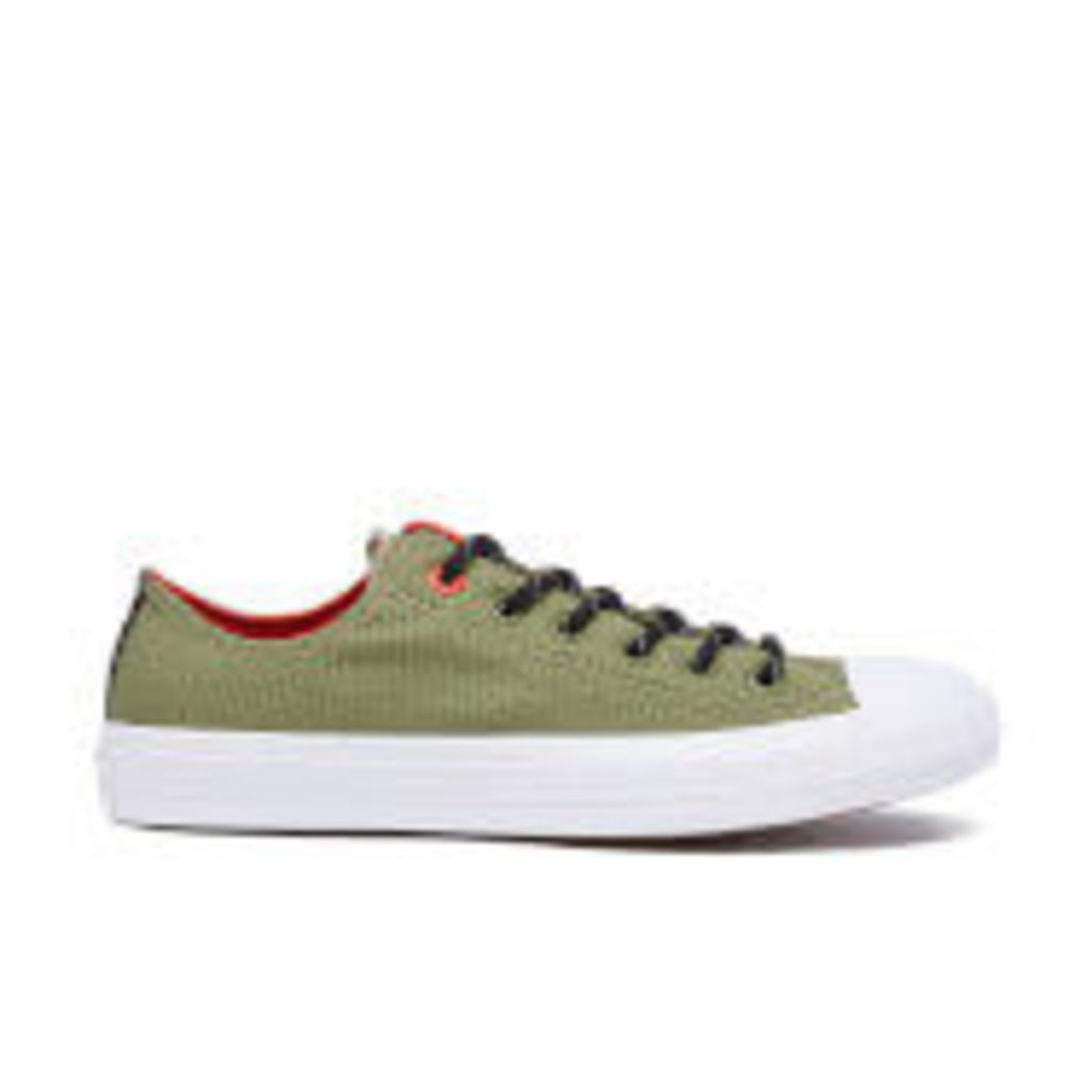 Converse Men's Chuck Taylor All Star II Shield Canvas Low Top Trainers - Fatigue Green/Signal Red - UK 10