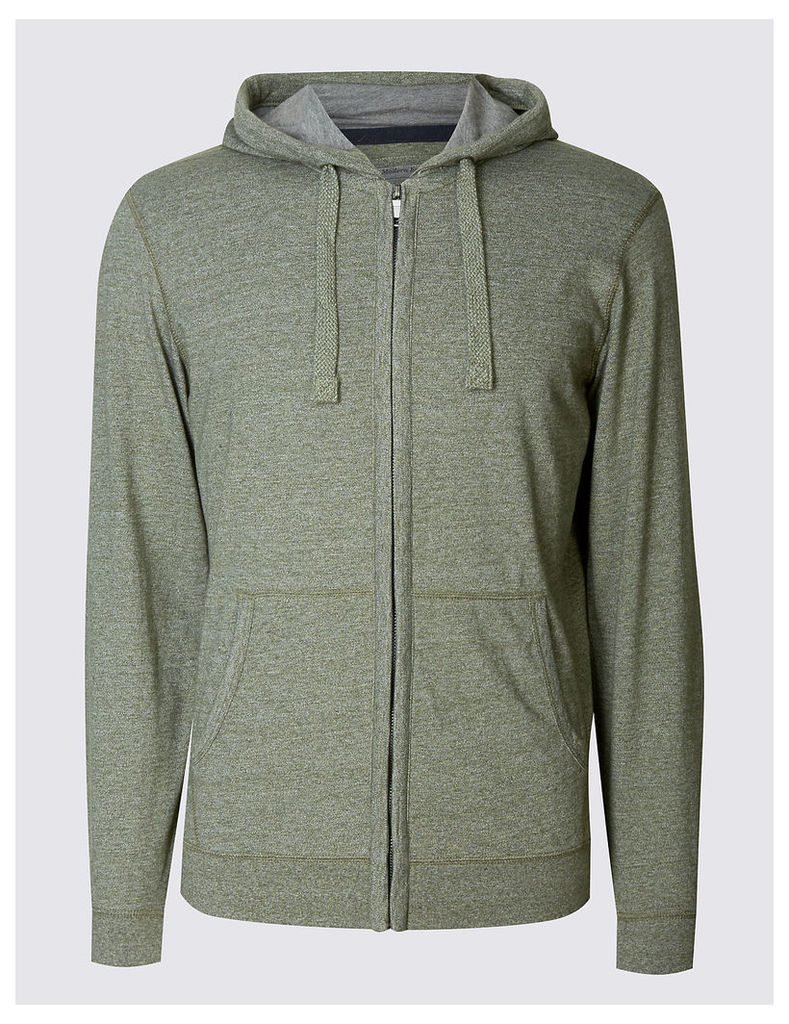 M&S Collection Cotton Rich Textured Hooded Top