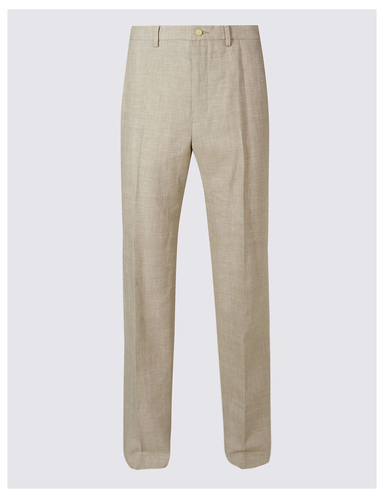 M&S Collection Big & Tall Linen Rich Flat Front Trousers