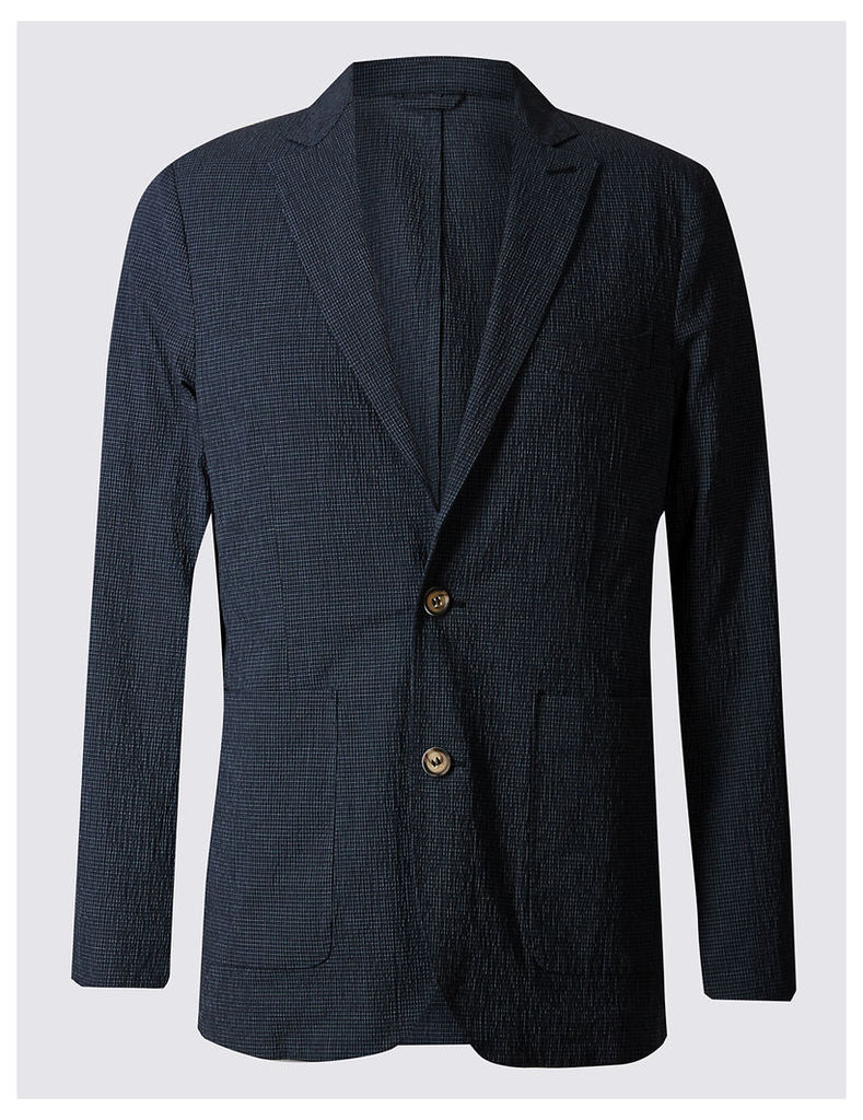 Best of British for M&S Collection Mini Grid-Checked Seersucker Blazer