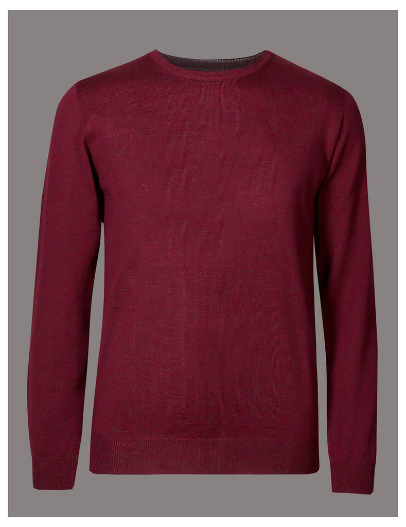Autograph Pure Merino Wool Textured Crew Neck Jumper