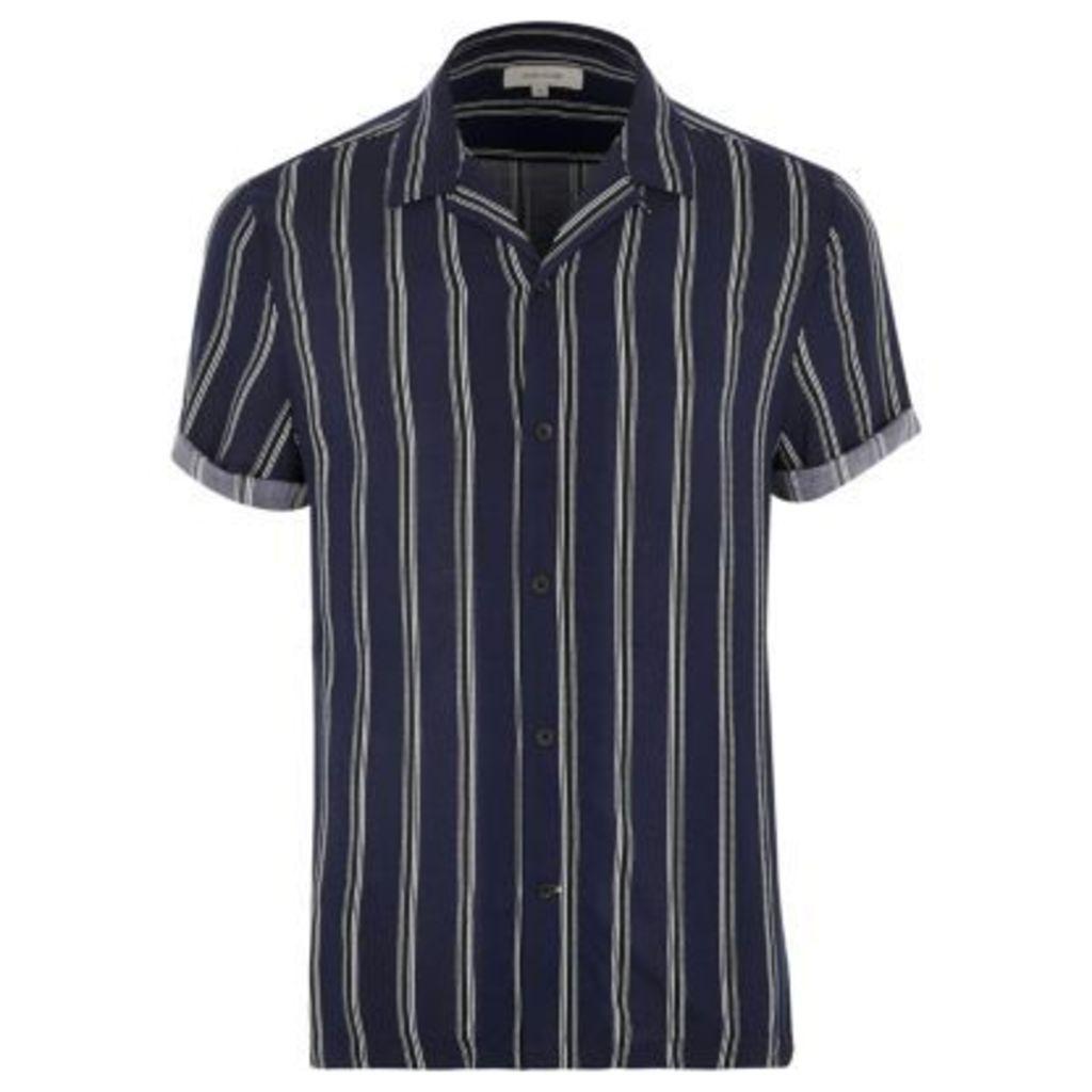 River Island Mens Blue stripe revere collar shirt