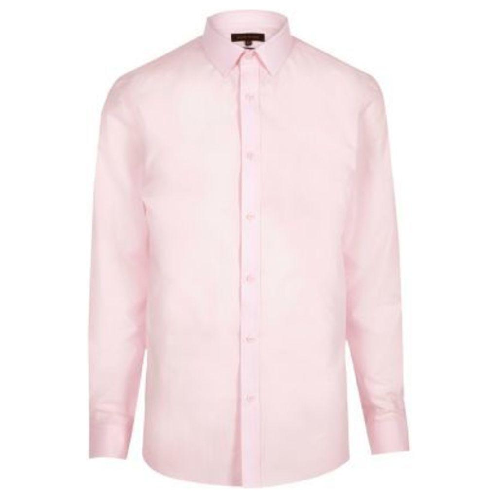 River Island Mens Pink formal poplin slim fit shirt