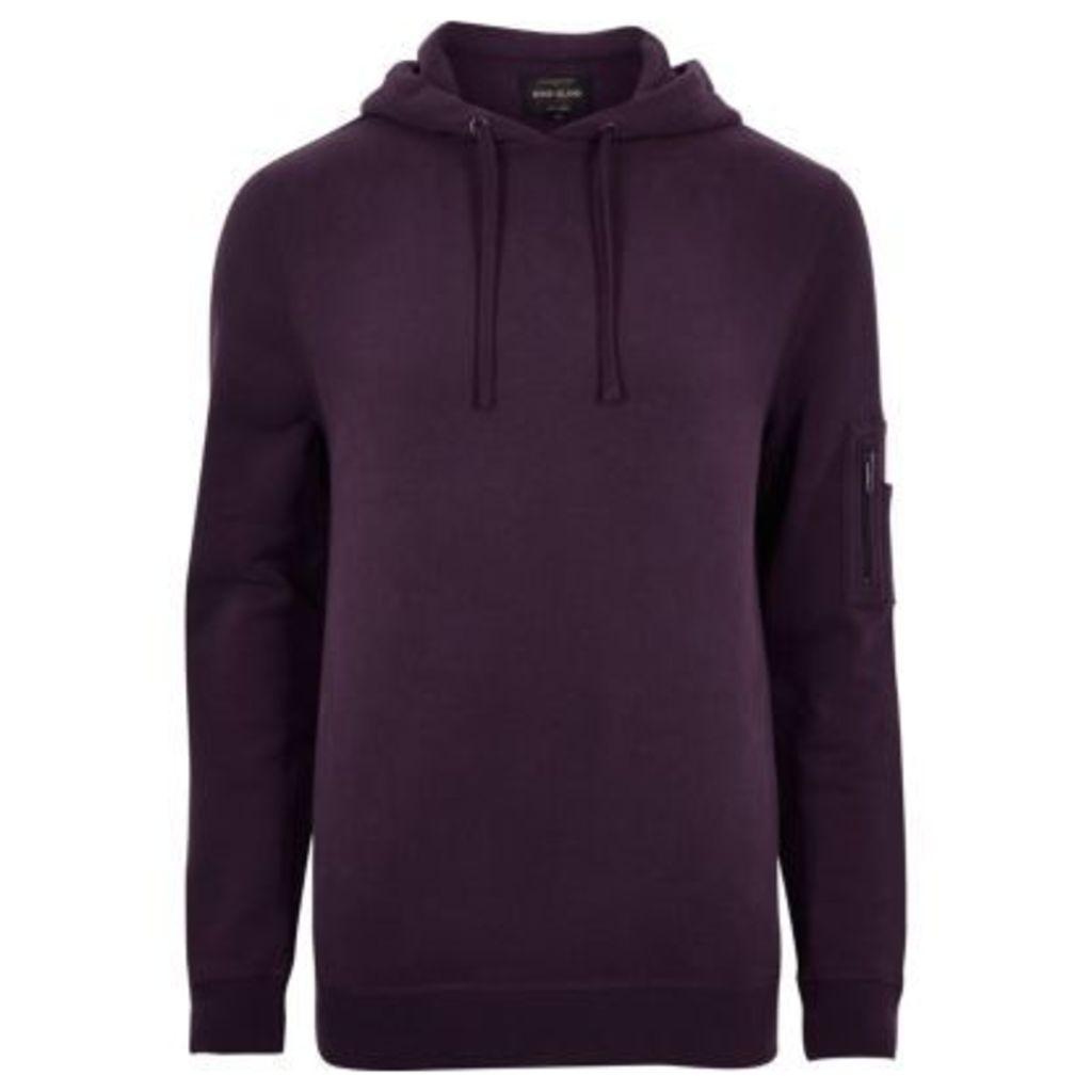 River Island Mens Dark Purple zip sleeve hoodie