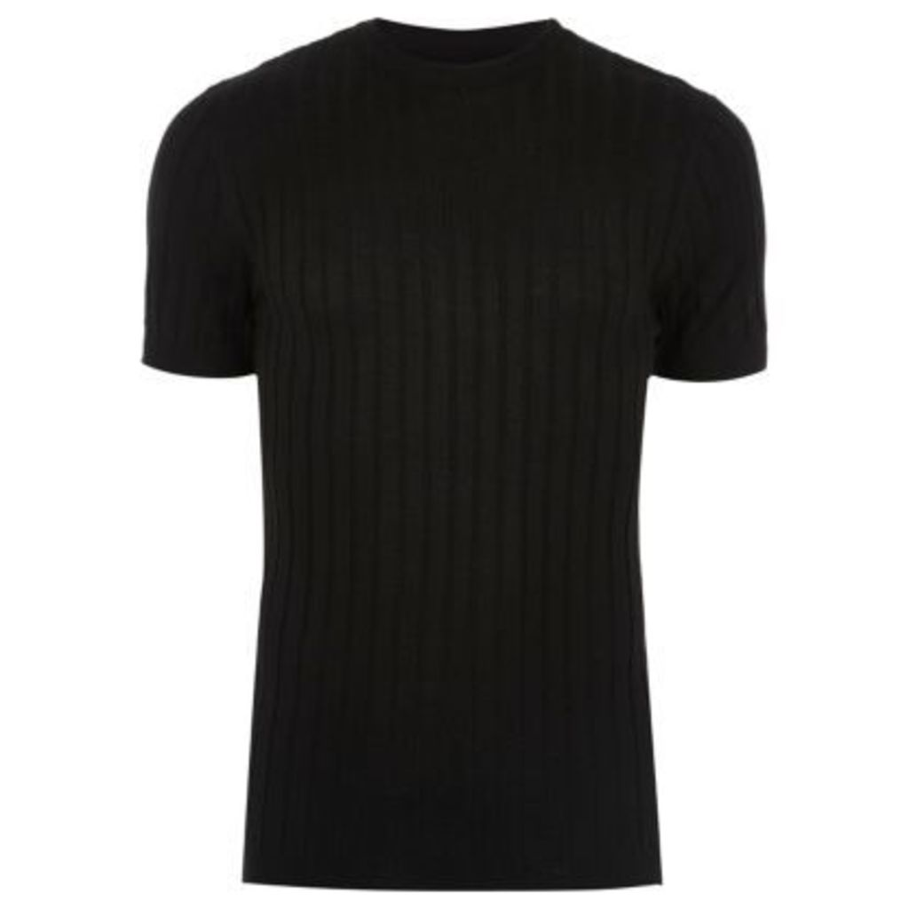 River Island Mens Navy chunky ribbed muscle fit T-shirt