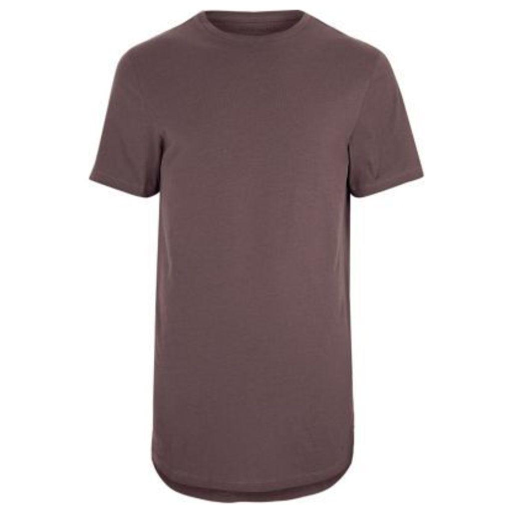 River Island Mens Purple curved hem crew neck T-shirt