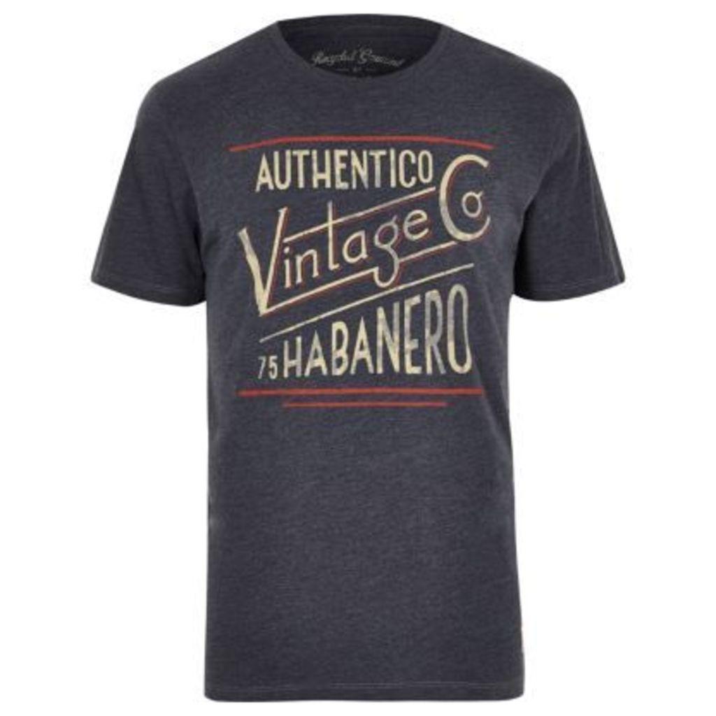 River Island Mens Dark Blue Jack & Jones Vintage T-shirt