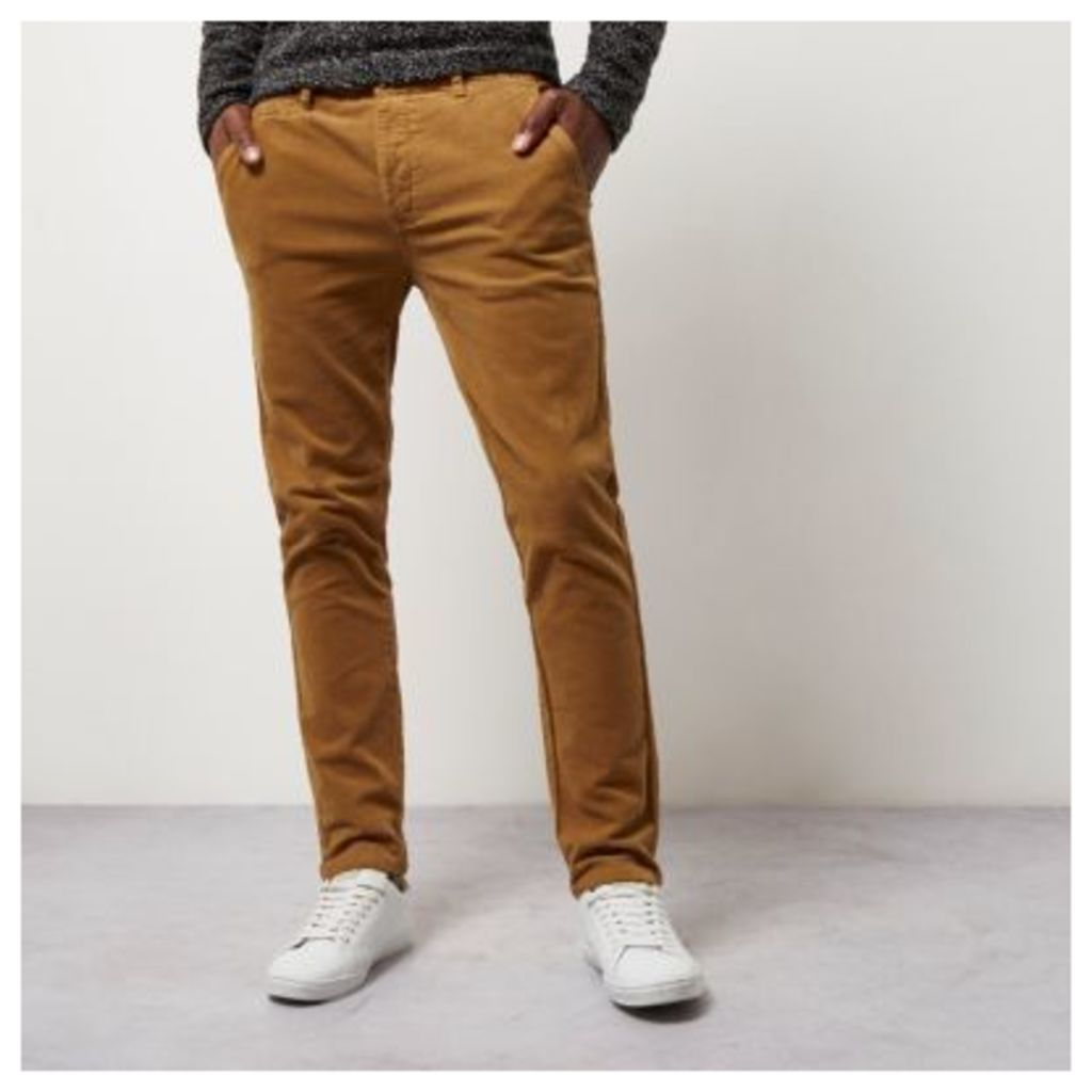 River Island Mens Camel skinny corduroy chino trousers