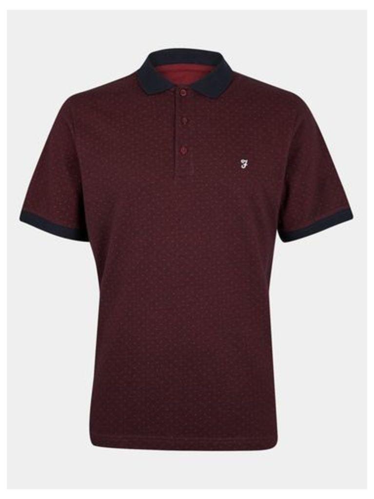 Mens Farah Burgundy Printed Polo Shirt*, Red